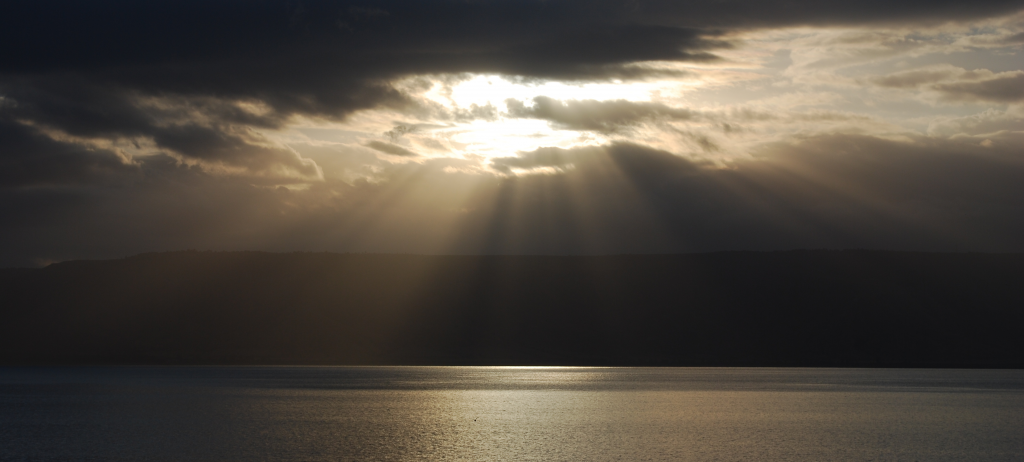 Bible Prayer of Declaration - Sunrise over Sea of Galilee in Israel