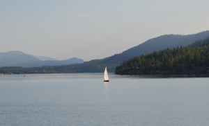 Sailboat on Christina Lake, B.C., Canada